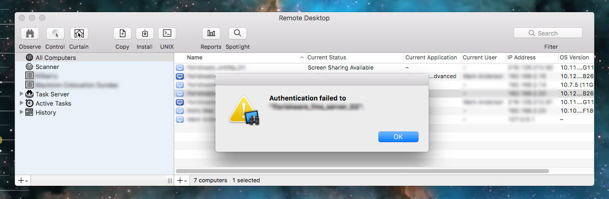 How to fix the 'Authentication failed to...' error in Apple Remote Desktop.